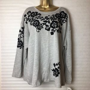 I.N.C Woman's Gray Embroidered embellished Sweater